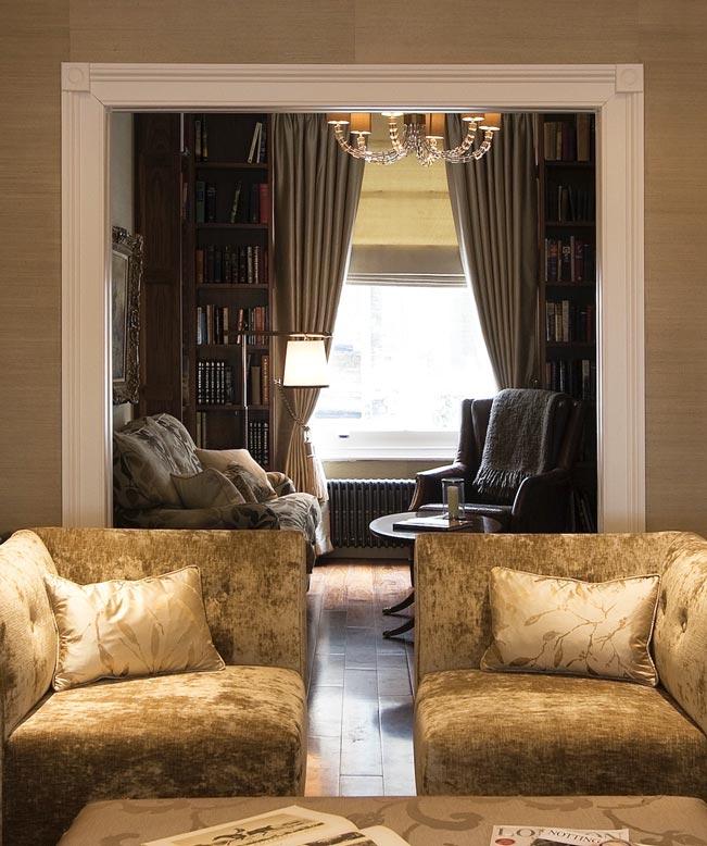 Living Room & Library Interior Design London thumbnail