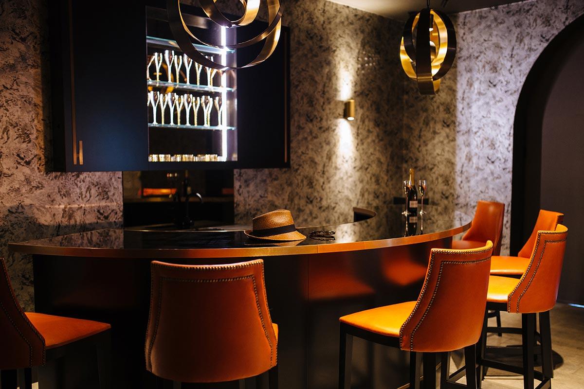 Games room, bar and home cinema interior design Surrey
